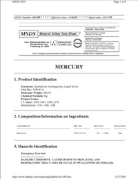 Thumbnail for Mercury MSDS Sheet