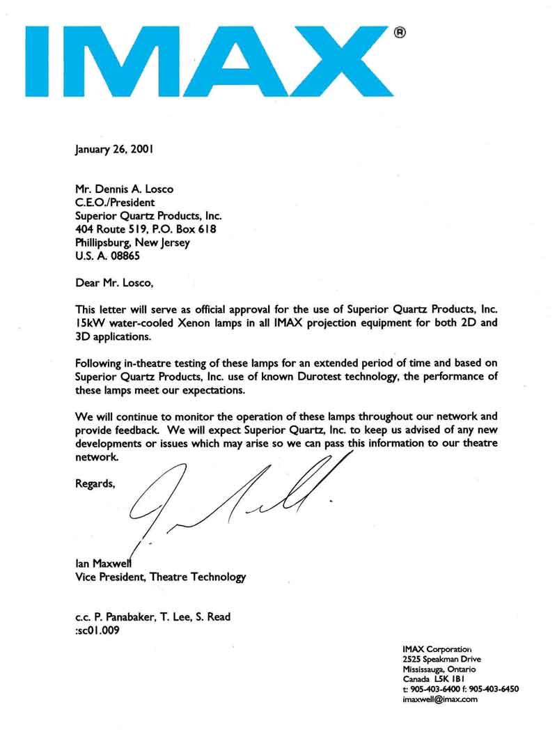Imax Approval Letter Thumbnail